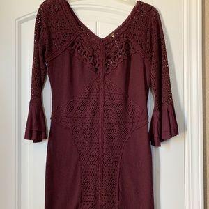 Free People wine burgundy boho bell sleeve dress